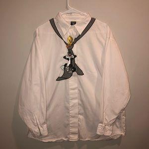 Tweety bird looney tunes Embroidered dress shirt